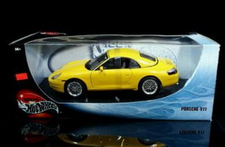 Porsche 911 Hot Wheels Diecast 1 18 Scale Yellow