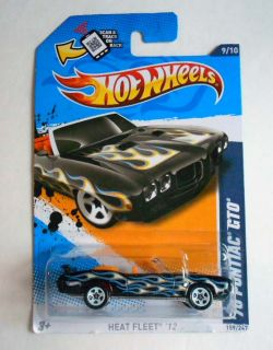 HOT WHEELS 2012 #159 HEAT FLEET 70 PONTIAC GTO BLK W/ FLAMES MINT ON