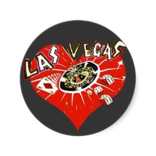 Las Vegas Casino Theme Heart red Stickers
