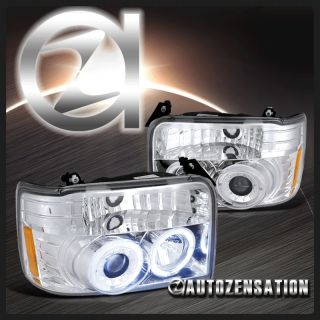 92 96 Ford F150 F250 F350 Bronco Chrome Halo Projector Headlights