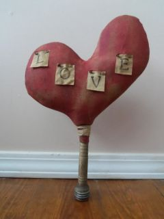 Primitive Grungy Heart Cupboard Make do Valentines Day