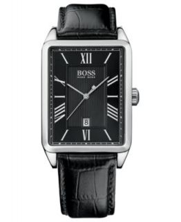 Hugo Boss Watch, Mens Black Leather Strap H1003   All Watches
