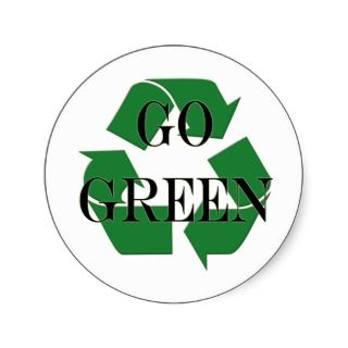 Go Green Recycle Symbol Round Sticker
