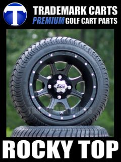 Black ITP SS108 Golf Cart Wheels and 205/30 12 Golf Cart Tires  Low