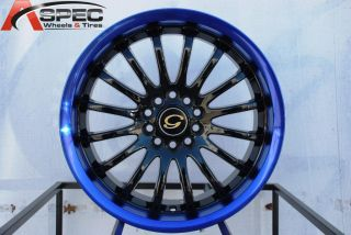 Wheel 5x108 114 3 40 Black Blue Lip Rim Fits Celica Civic RSX
