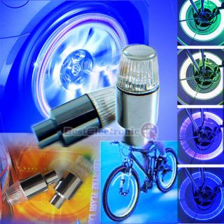 2X Car Bike Bicycle Tire Wheels Valve LED Lights Blue