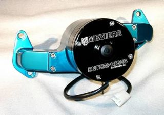 Meziere Water Pump Electric 35 GPM Billet Aluminum Blue Ford Big Block