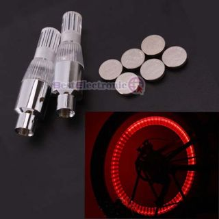 Car Bicycle Bike Tire Type Valve Wheels LED Light Red