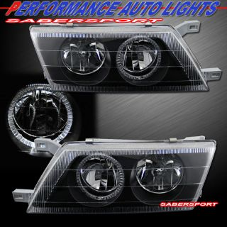 1995 1998 NISSAN SENTRA BLACK HOUSING HEADLIGHTS W/ HALO RIMS