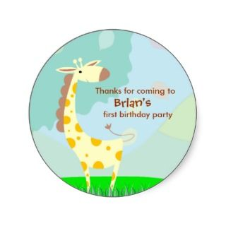 Kids Birthday Thank You Stickers Giraffe
