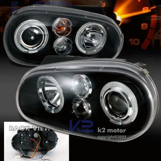 For 1999 2005 VW Golf GTI Halo Rim Projector Headlights Blk