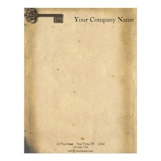 Antique Skeleton Key Letterhead Template