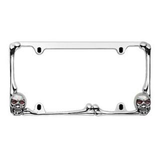 Bully License Plate Frame Die Cast Zinc Chrome Frame Skull and Bones