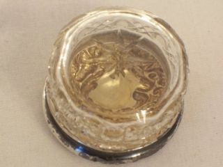 Antique Silver Topped Cut Glass Sewing Needle Box Pin Trinket Box