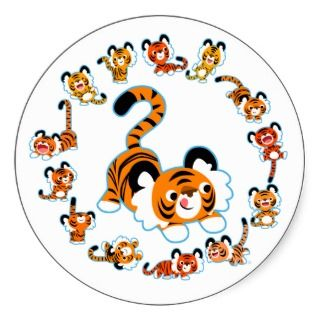 Cute Cartoon Tigers Mandala (Blue) Sticker