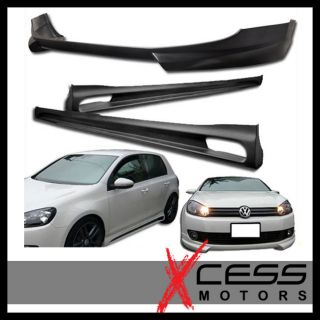 09 11 12 VW GOLF 6 MK6 URETHANE BLACK FRONT BUMPER LIP SPOILER + SIDE