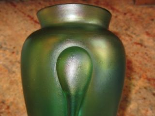Antique Loetz Vesuvian Creta Green Art Glass Vase 3 Applied Prunts Art
