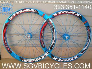 Blue 51mm Stars Wheels Fixed Gear Fixie Track Bike