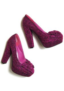 Platform Heel Pink Magenta Glitter Sparkle Pump Heels Shoes Big Bow