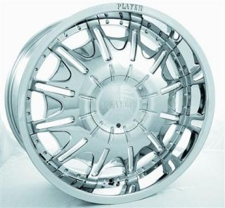 24 Player 904 Chrome Rims Tires Package 6x135 6x139 7 Ford Chevy and