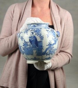 Large Unusual Antique 19 20thC Chinese Qing Blue White Porcelain Ovoid