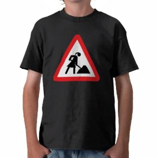 women construction building site warnsign t shirt