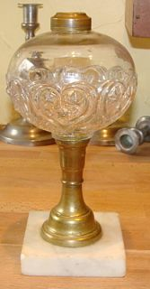 Antique Pressed Glass Oil Lamp Heart Stars Font Marble Base