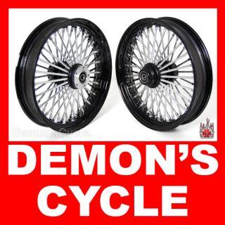 Black 18 18 Wheels Fat Mammoth 48 Spokes Fit Harley Fatboy Softail