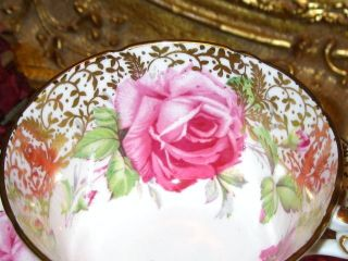Bold Pink Roses Gold Aynsley England Tea Cup and Saucer Set