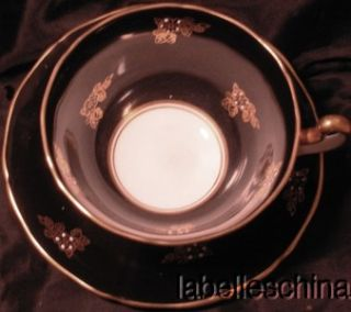 Adderley Teacup and Saucer Black with Gold Gilt Design and White