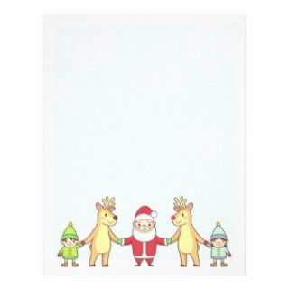 Christmas Letter Paper   Santa and Friends Letterhead Template