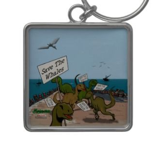 Save the Whales Cartoon Keychain