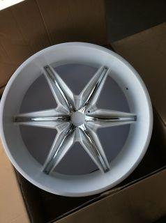 24 Gloss White Rims Tires Chrome Inserts 5x139 Dodge RAM 1500 Durango
