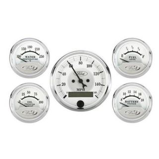New Auto Meter Masterpiece Silver Vintage Look Ford 5 Gauge Set