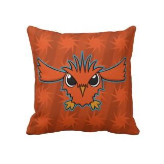 Red Flying Cartoon Bird Pillow