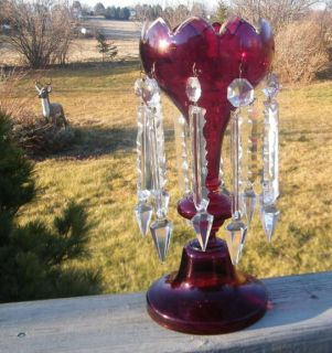 ANTIQUE VICTORIAN MOSER RED RUBY GLASS MANTEL LUSTRE LAMP w/ 7 CUT