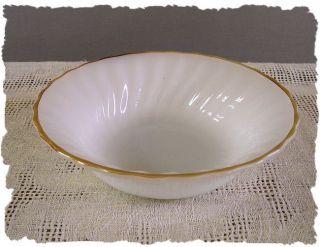 Vintage Anchor Hocking White Swirl Gold Rim Bowl