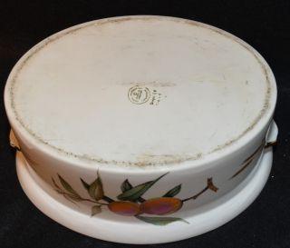 Large Royal Worcester Porcelain Covered Casserole Tureen Evesham