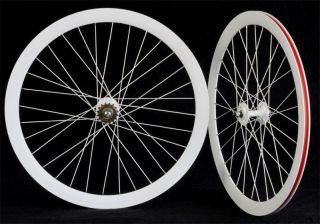 Fixie Freewheel Track Wheel Wheelset Deep V White (Spokes painting