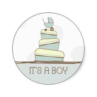 Blue Baby Carriage Cake Its A Boy Sticker