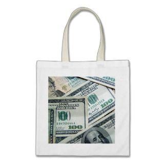 Cash Money US Dollar Bills Piled Up Canvas Bag