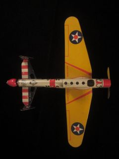 1930s Gotham Pressed Steel Marble Shooter Tin Airplane Toy Army Air