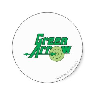 Green Arrow Logo Round Stickers