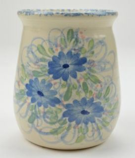 East Texas Pottery Blue Floral Pattern Canister 6 Tall Collectible