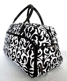 Tote Bag Gym Case Upright Rolling Luggage Wheels Travel Floral