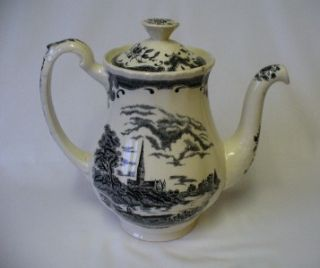 Superb Vintage Black Cream Teapot WH Grindley Scenes After Constable