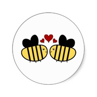 Honey Bee Love Round Sticker