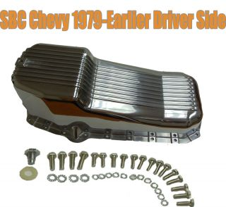 SBC Chevy Oil Pan for 1979 Earlier, Finned Polished Aluminum w/ Driver