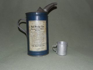 Vtg Antique Maytag Wash Machine Fuel Oil Mixing Can w Measuring Cup