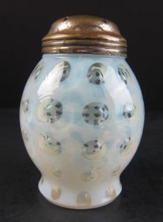 Scarce Northwood White Opalescent Polka Dot Sugar Shaker Muffineer